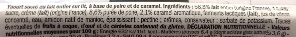 Yaourts au lait entier sur lit de poires et caramel - Ingredients