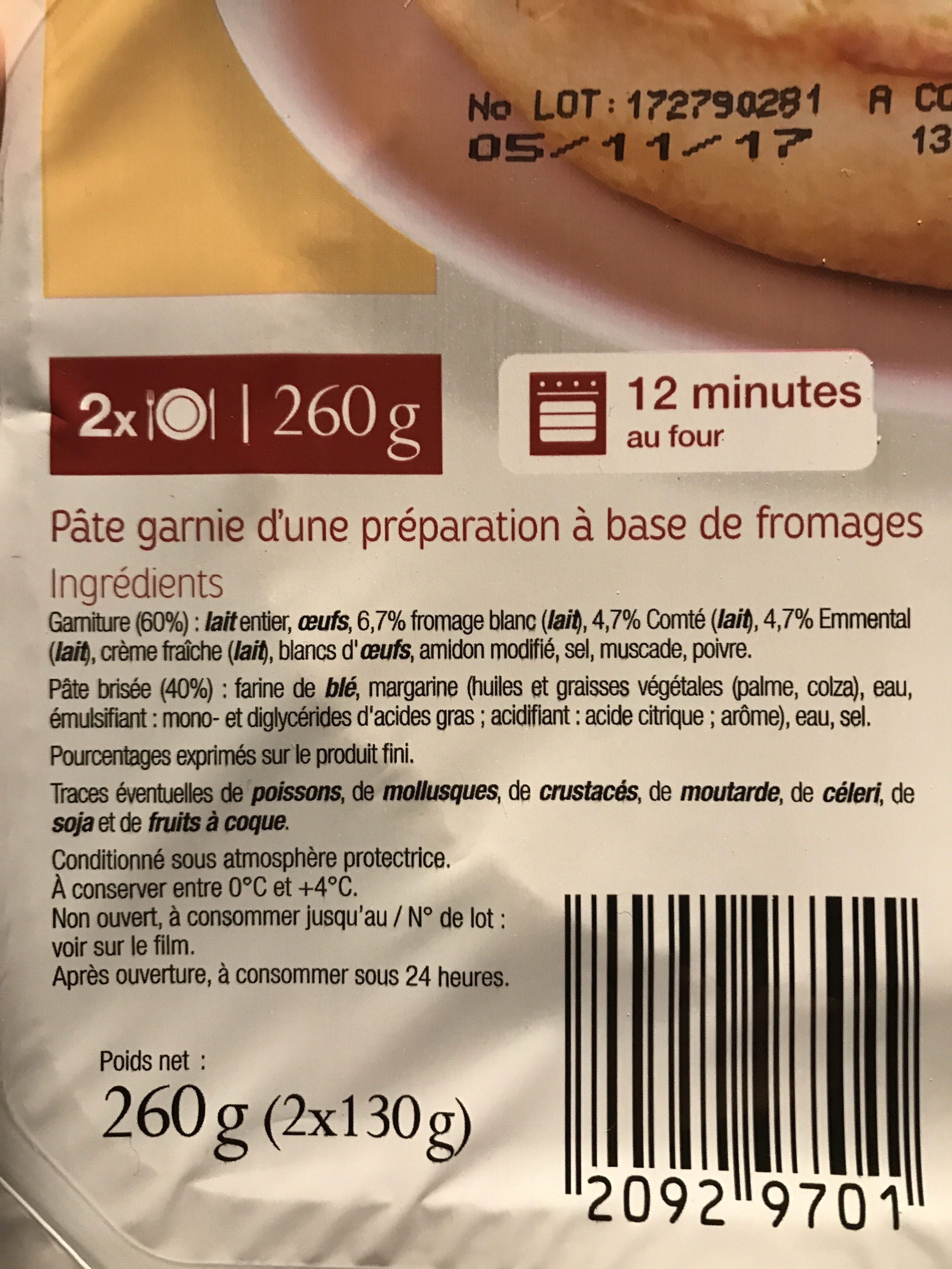 Tarte aux fromages - Ingrédients