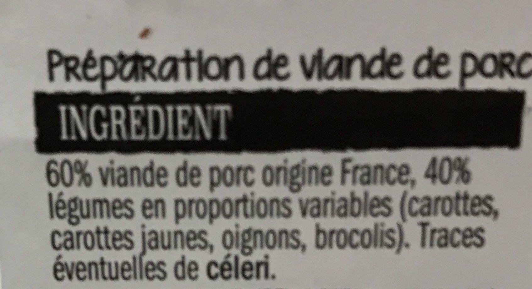 Emincés de porc et legumes a poeler - Ingrediënten