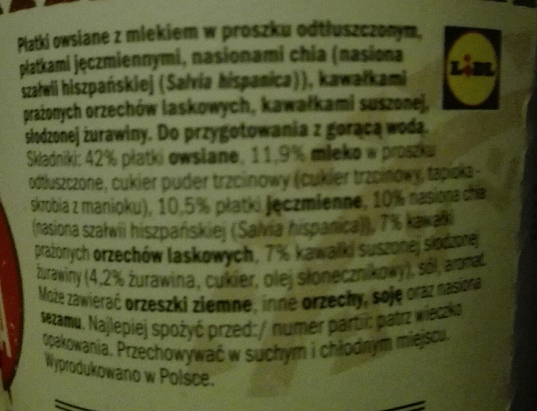 owsianka z płatkami jęczmiennymi - Składniki - pl