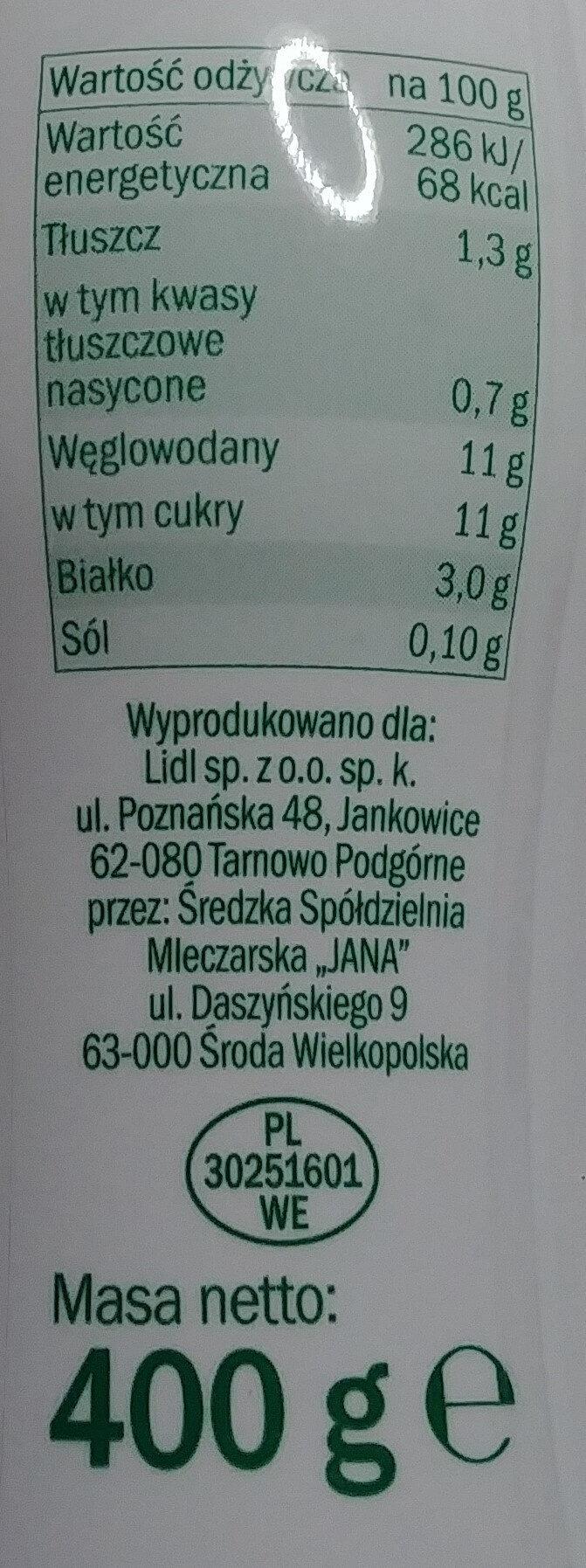 Kefir truskawkowy - Informations nutritionnelles - pl