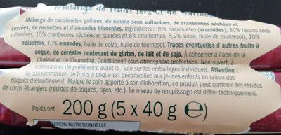 Mélange de fruits secs et de cramberries - Ingrédients - fr