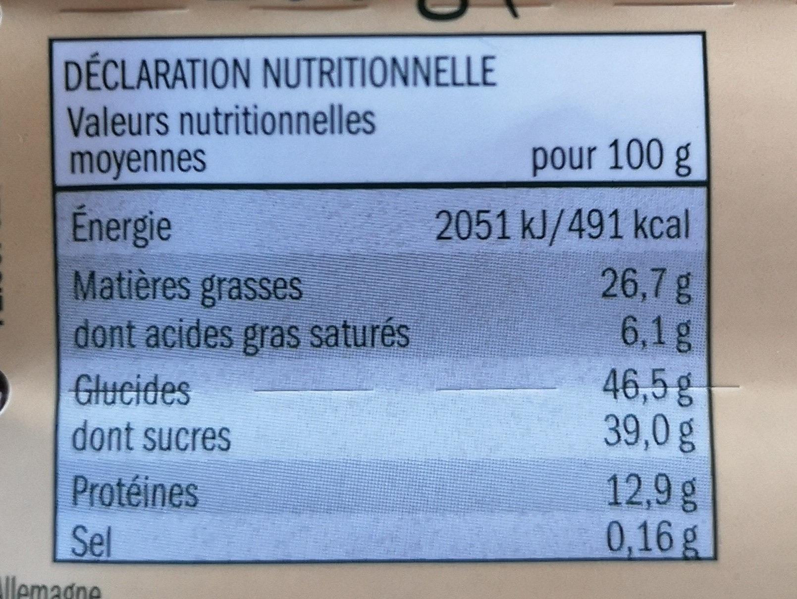 Mélange d'arachides - Voedingswaarden