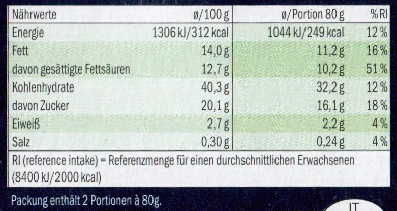 Torta della Nonna - Nährwertangaben - de