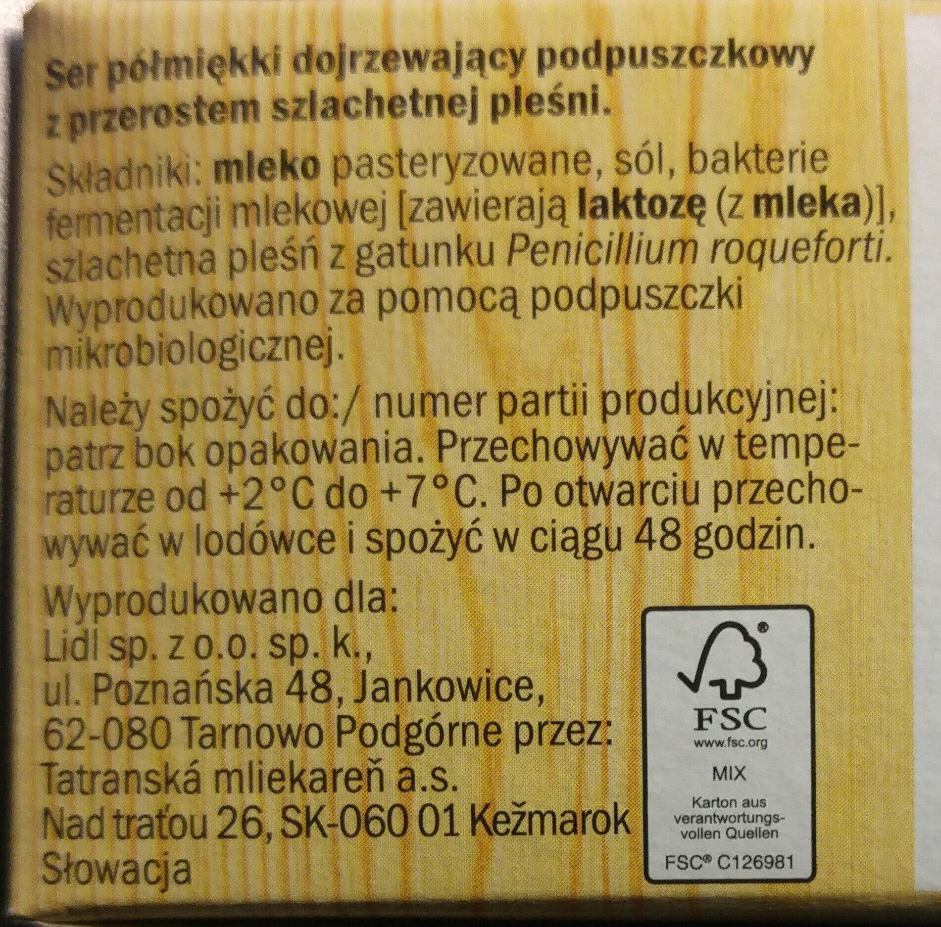 Ser półmiękki dojrzewający podpuszczkowy z przerostem szlachetnej pieśni - Składniki - pl