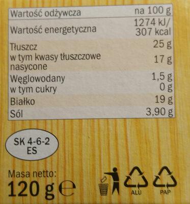 Ser półmiękki dojrzewający podpuszczkowy z przerostem szlachetnej pieśni - Wartości odżywcze - pl