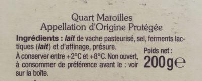 Quart maroilles AOP - Ingrédients