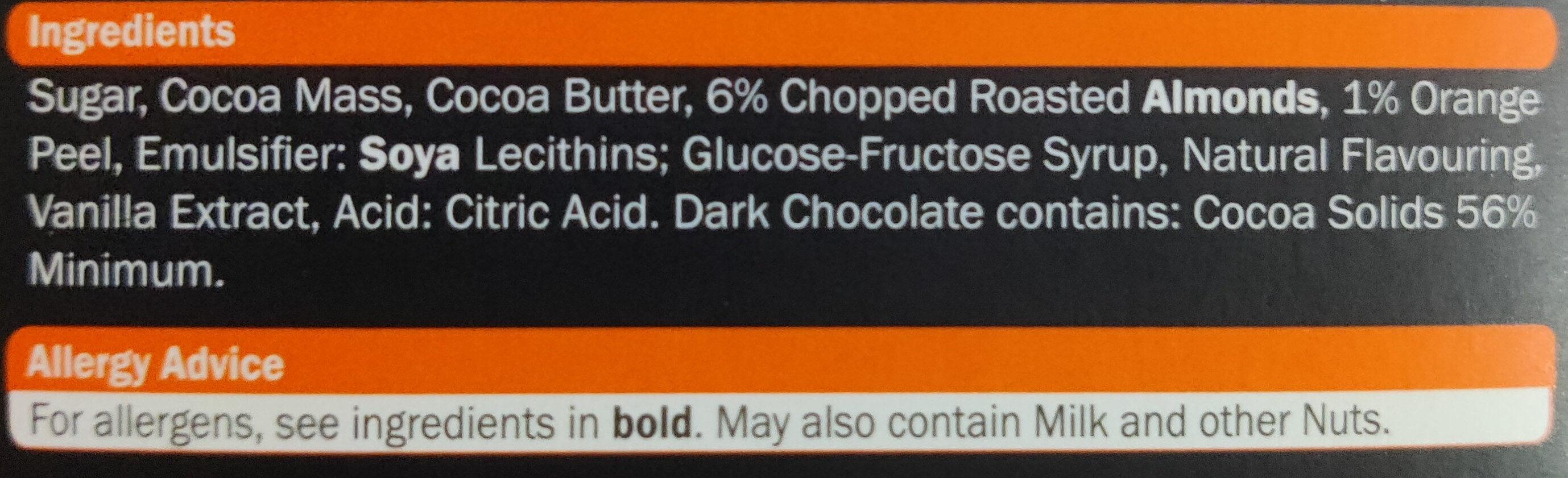 Almond & Orange Dark Chocolate - Ingredients - en