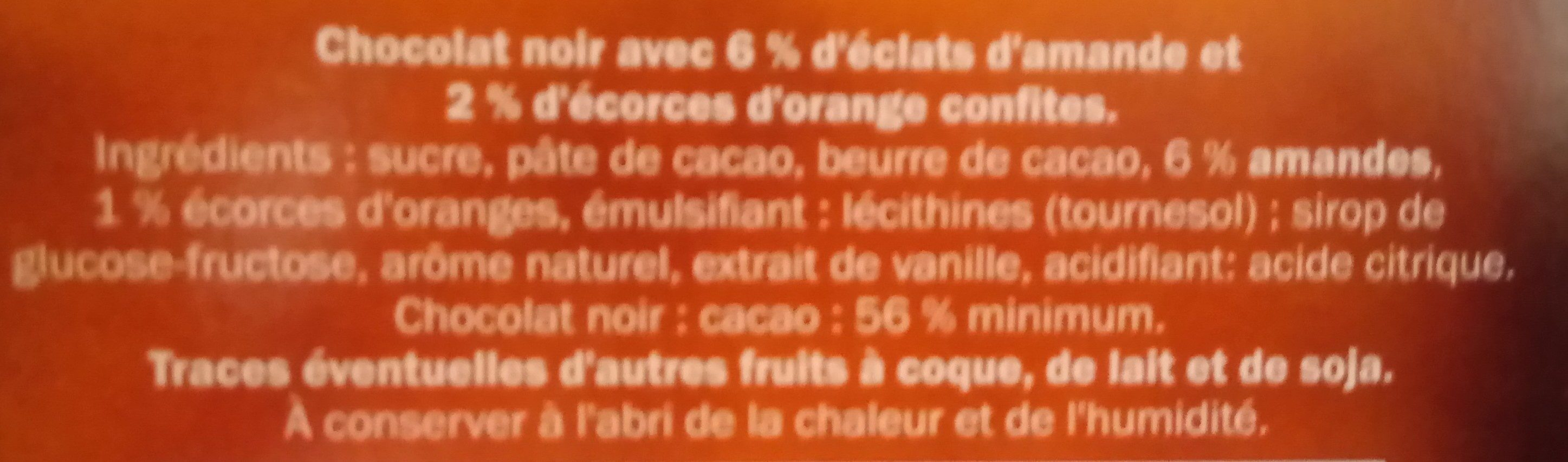 Chocolat noir Amande et écorces d'orange - Ingredients