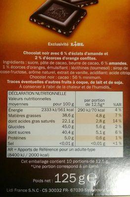 Chocolat noir Amande et écorces d'orange - Nutrition facts