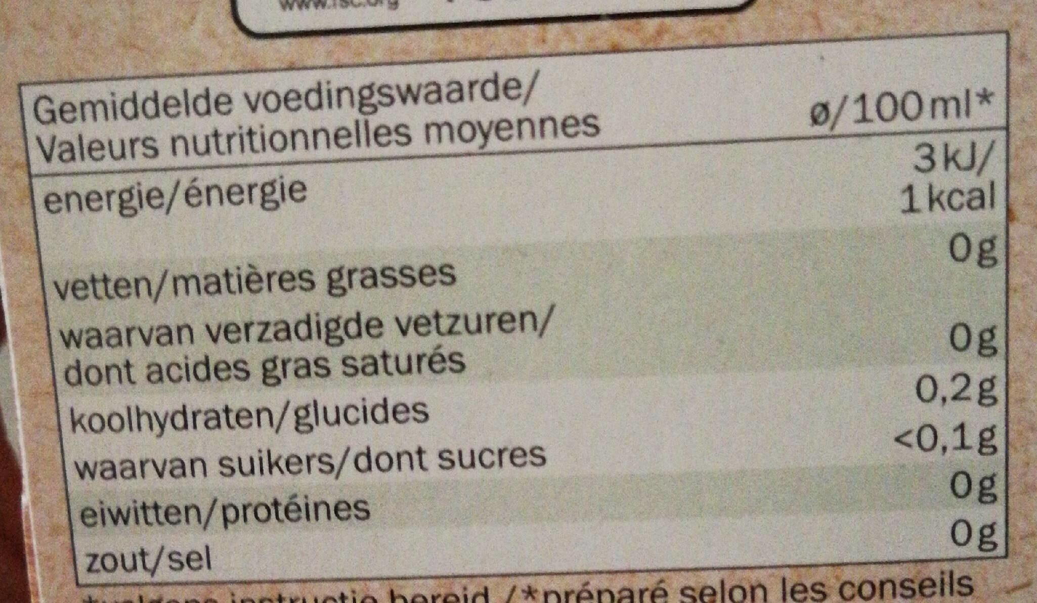 Rooibos Bio - Voedingswaarden - nl