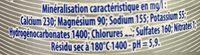 Eau minerale naturelle, naturellement pétillante - Voedingswaarden - fr