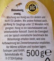 Blüten honig Feincremig - Inhaltsstoffe - de