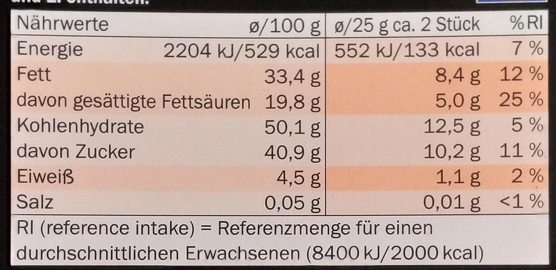 Mousse au chocolat Orange - Nutrition facts - de