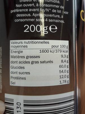 Cappuccino - Informação nutricional - fr