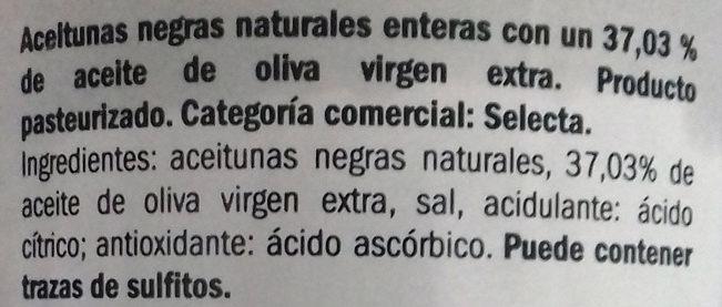 Aceitunas Kalamón in hueso - Inhaltsstoffe