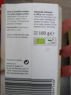 Dulce de membrillo con canela ecológico - Ingredientes