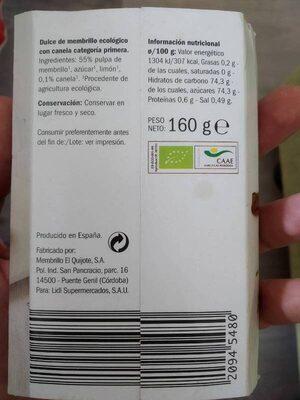 Dulce de membrillo con canela ecológico - Información nutricional