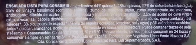 Ensalada Quinoa y Espinacas - Ingrediënten