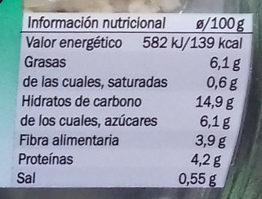Ensalada Quinoa y Espinacas - Información nutricional