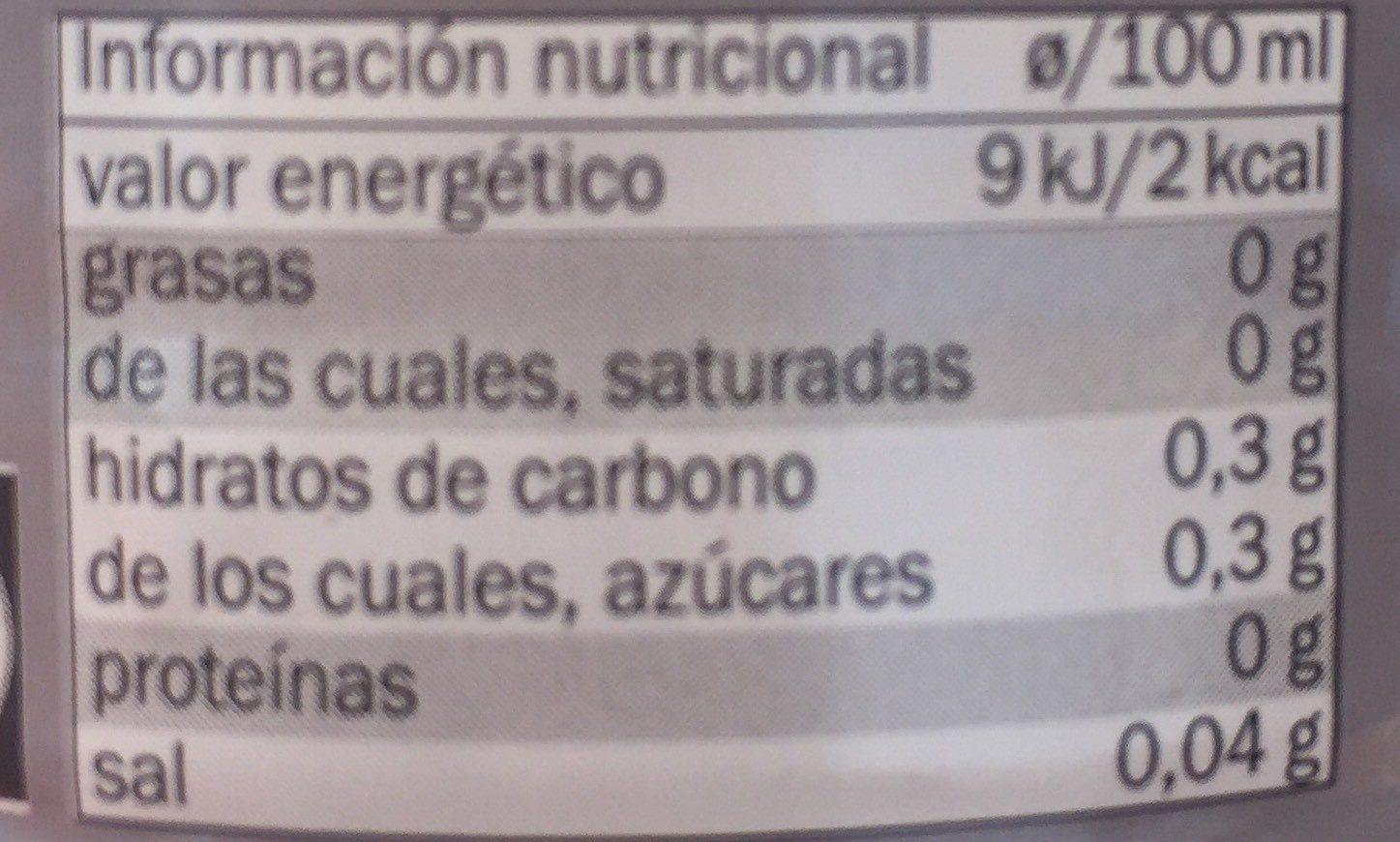 Té zero - Informations nutritionnelles - fr