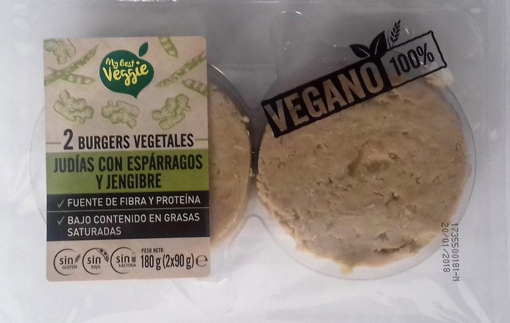 2 Burgers vegetales Judías con espárragos y jengibre - Producto