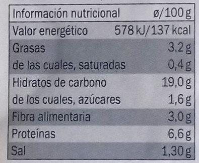 2 Burgers Vegetales de Judias con Esparragos y Gengibre - Informations nutritionnelles - es