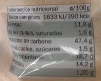 Aperitivo de guisante Bio - Información nutricional