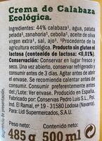 Crema de calabaza - Ingrédients - fr
