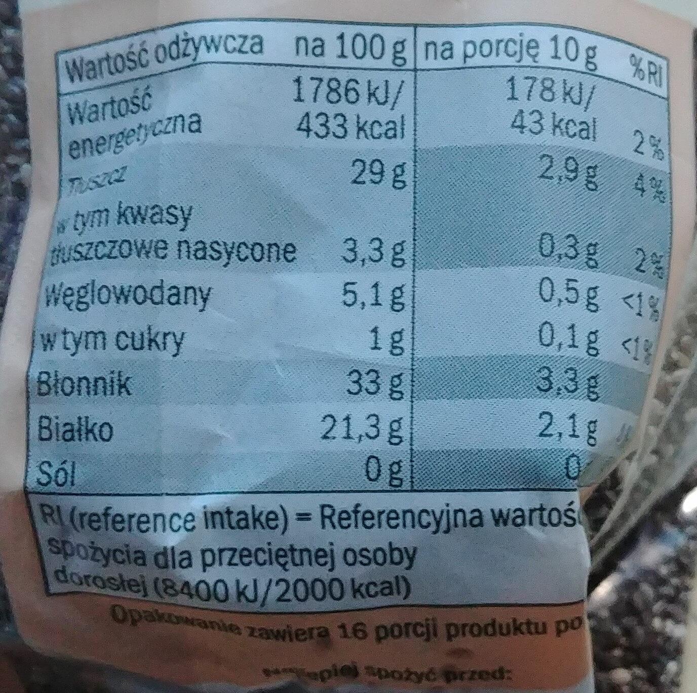 Chia nasiona szałwii hiszpańskiej - Nutrition facts - pl