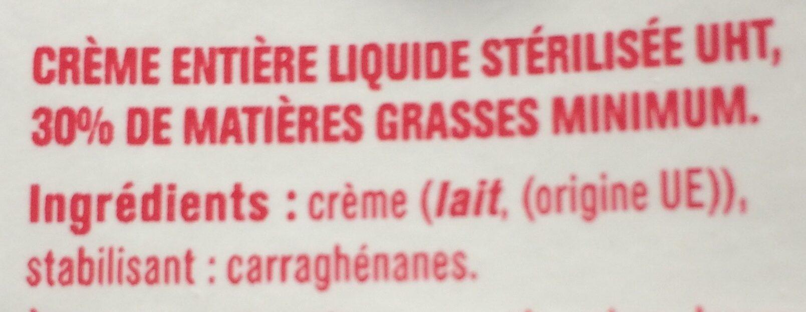 Crème entière liquide 30%MG - Ingrediënten - fr