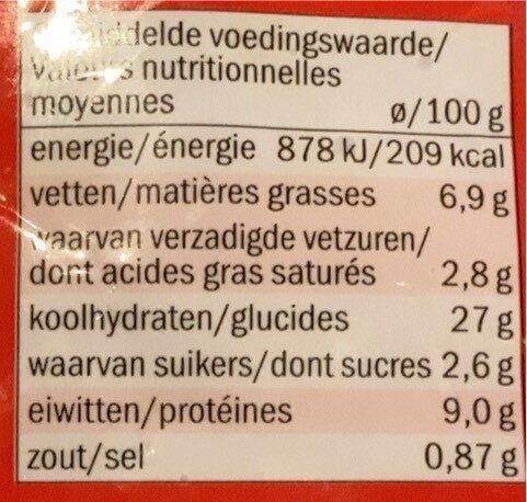 Pizza bolognaise - Voedingswaarden - fr