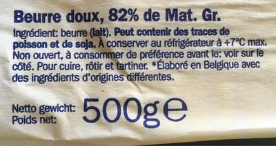 Beurre du pays doux - Ingrediënten