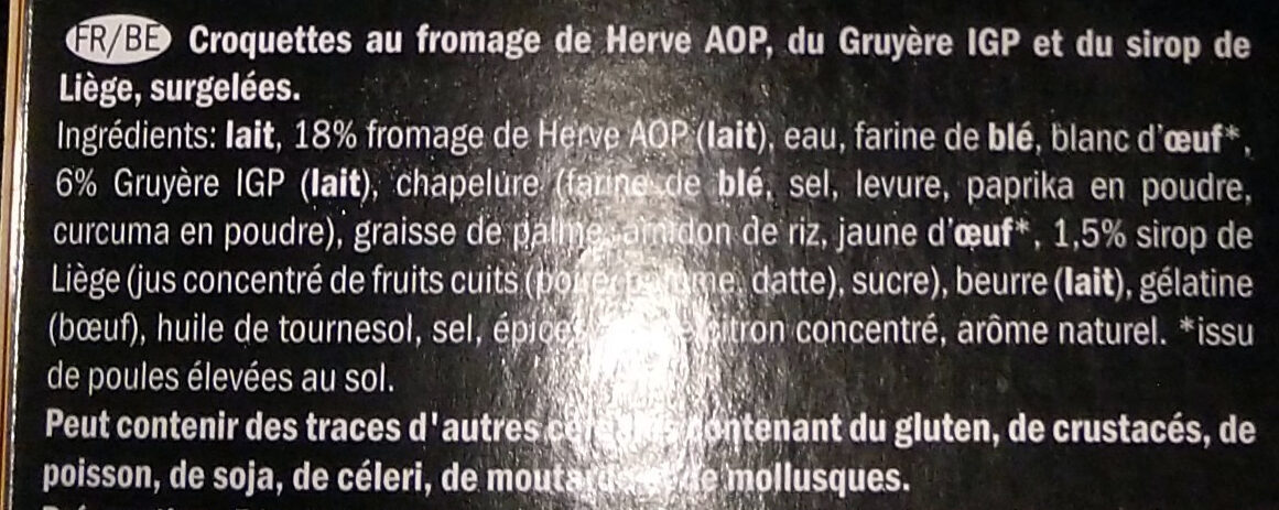 Noisettes au fromage de Herve AOP - Ingrediënten - fr
