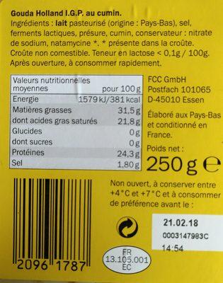 Gouda Holland I.G.P au cumin - Ingrediënten - fr
