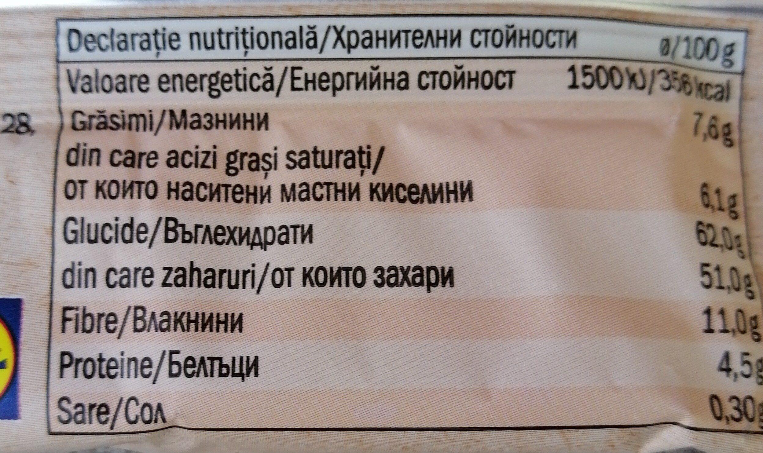 Bio raw bar - Nutrition facts - bg