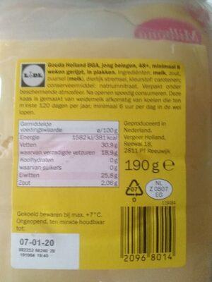 Milbona Jong belegen kaas - Ingredients - nl