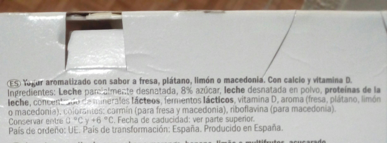 Yogur sabores - Ingredientes