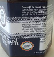 Camara Noastra Dulceata de ceapa rosie - Ingredients - ro