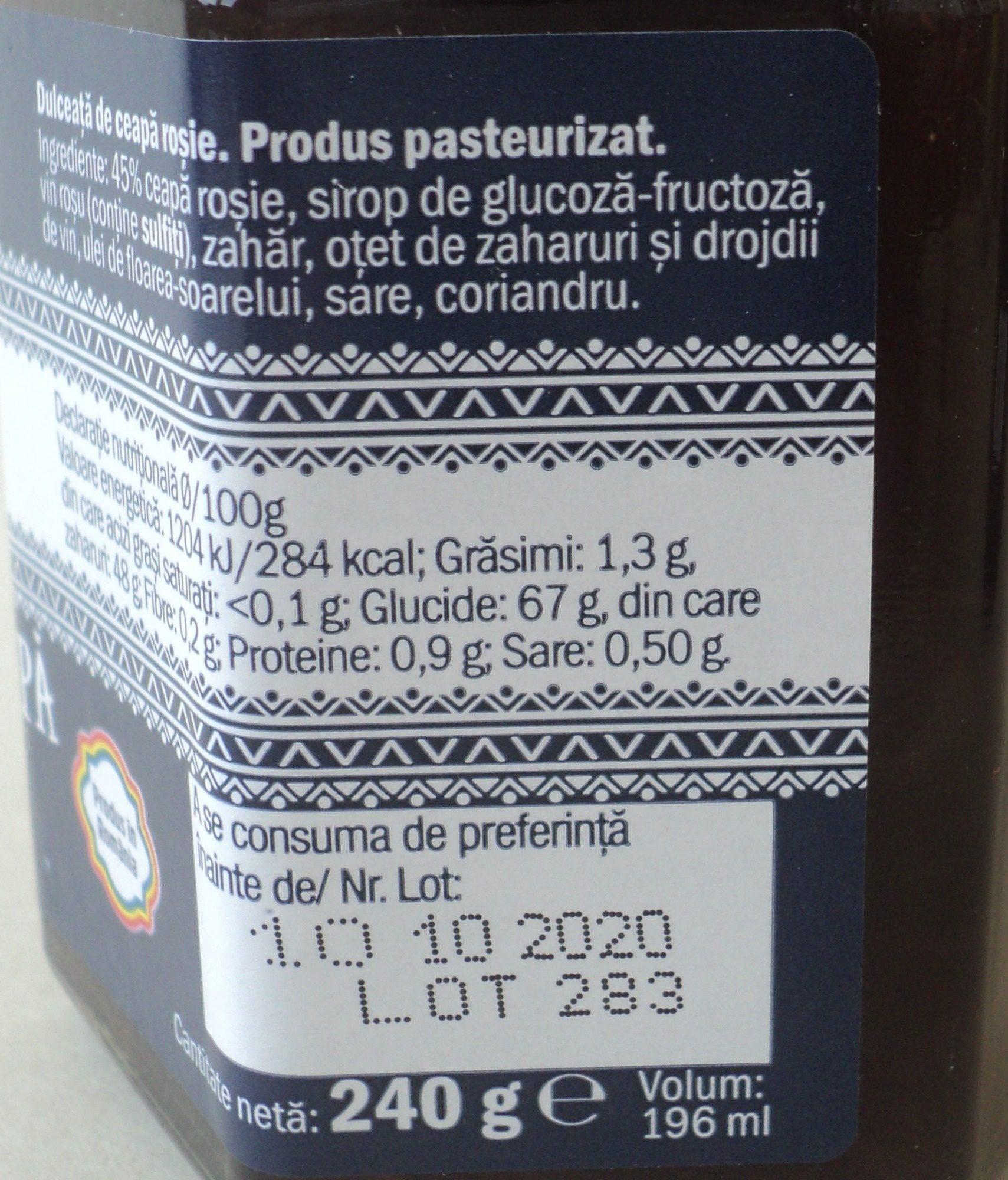 Camara Noastra Dulceata de ceapa rosie - Nutrition facts - ro