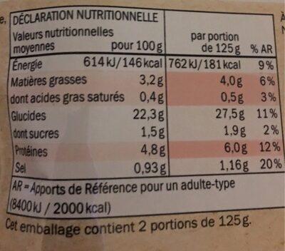 Bio quinoa et légumes - Voedingswaarden - fr