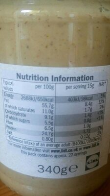 Whole Nut Smooth Peanut Butter - Nutrition facts
