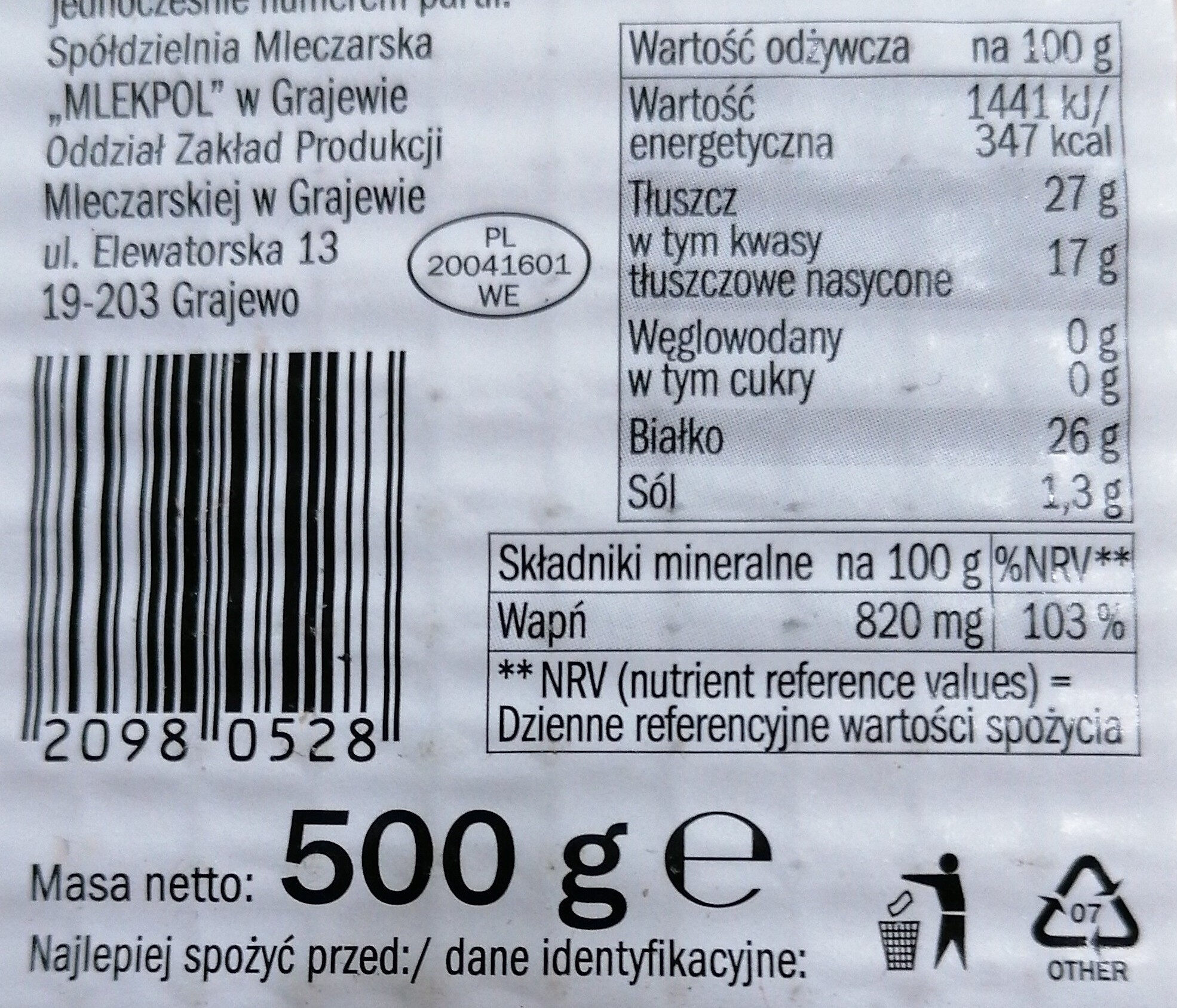 Ser Gouda, plastry - Nutrition facts