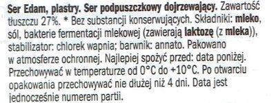 Ser Edam, plastry - Składniki - pl
