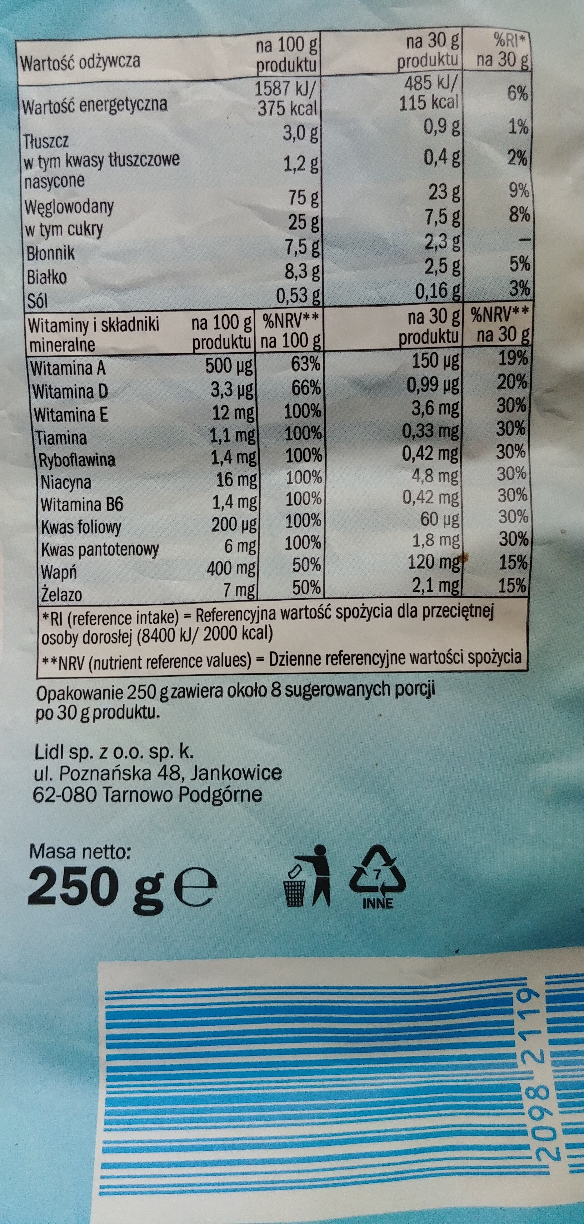 Płatki zbożowe w kształcie ciasteczek o smaku czekoladowym wzbogacone w 9 witamin, wapń i żelazo. - Nutrition facts