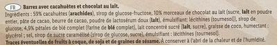 Barres gourmandes Cacahuètes et chocolat au lait - Ingredients - fr