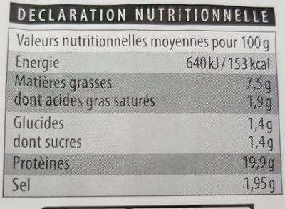 Emincés de Poulet - Nutrition facts