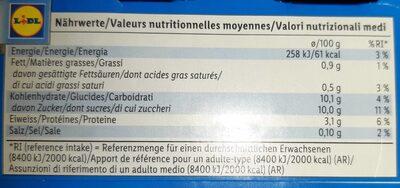L. Casei - Informazioni nutrizionali - fr
