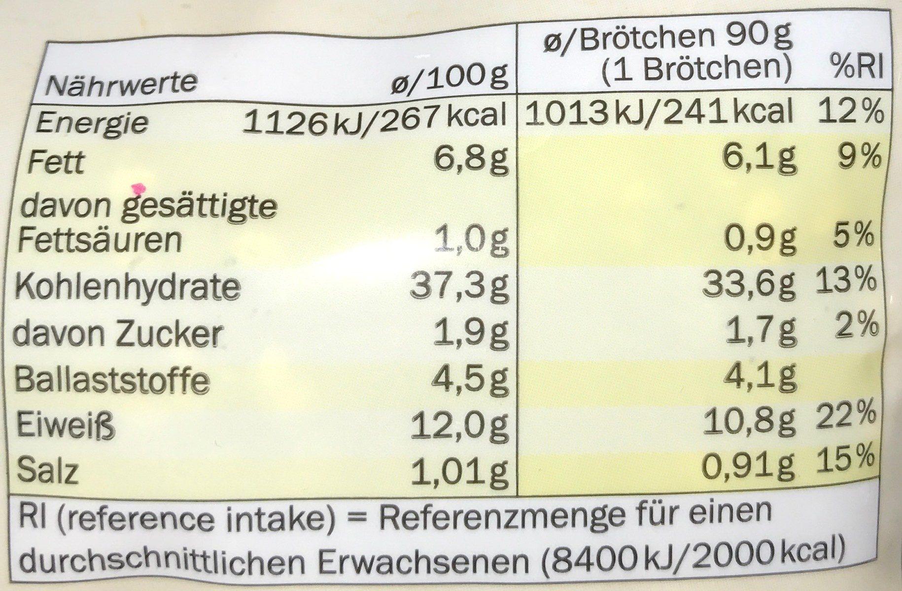 Bio körner krusti brötchen - Nutrition facts