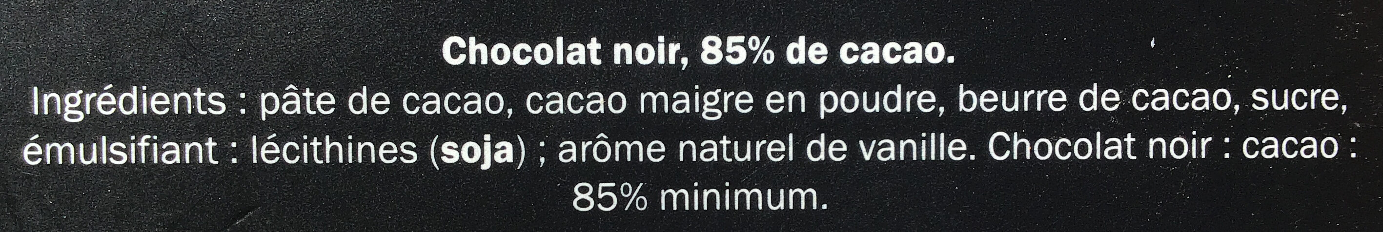 Chocolat noir Arriba 85% cacao - Ingredienti - fr